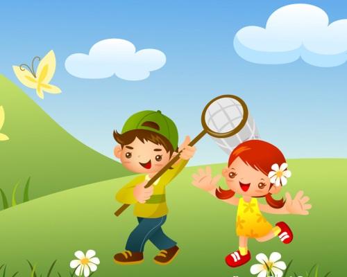 Hai anh em cùng đi bắt bướm