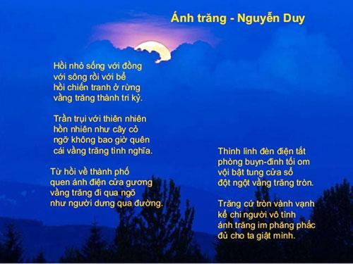 Kết quả hình ảnh cho bài thơ Ánh trăng