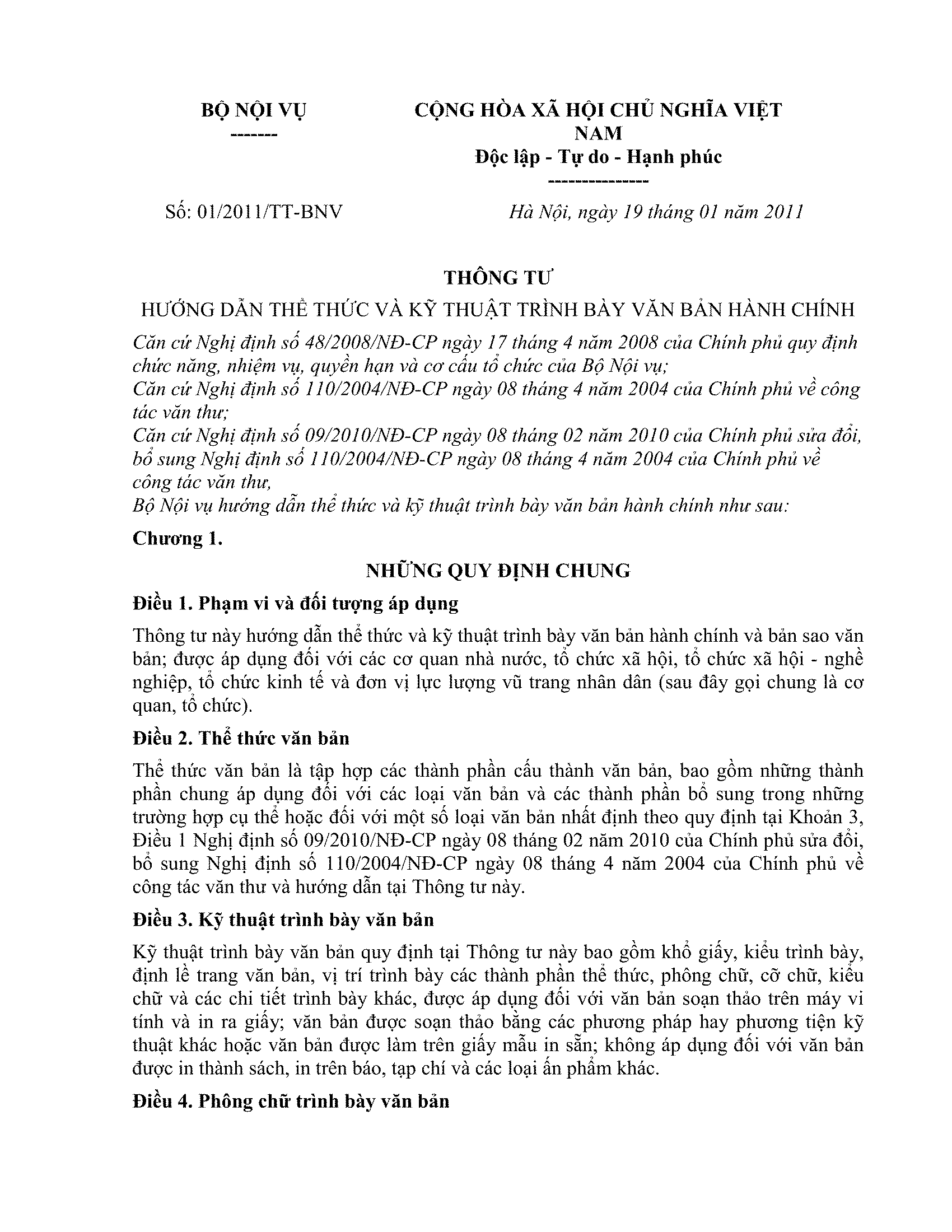 Hướng dẫn kỹ thuật trình bày văn bản hành chính